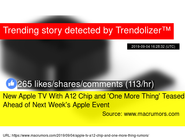 New Apple TV With A12 Chip and 'One More Thing' Teased Ahead