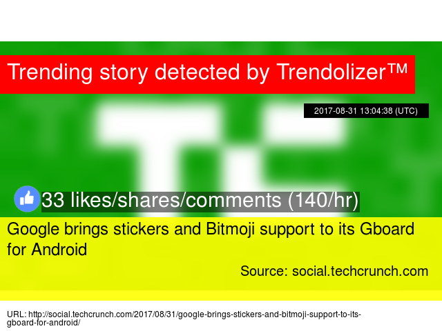 Google brings stickers and Bitmoji support to its Gboard for Android