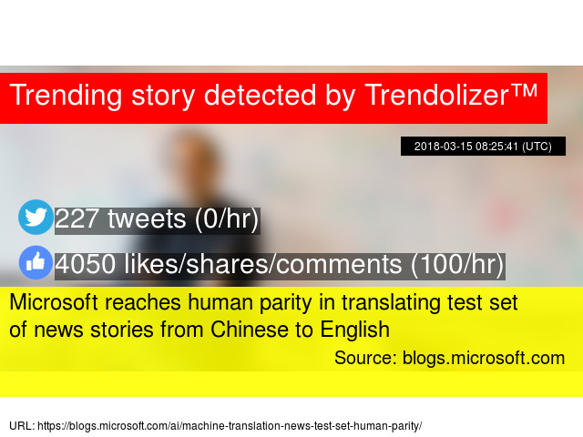 Microsoft reaches human parity in translating test set of