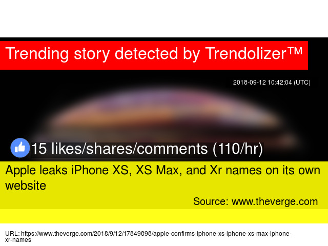 apple leaks iphone xs xs max and xr names on its own website